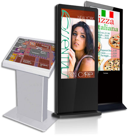 Self-Standing Kiosk Media Display